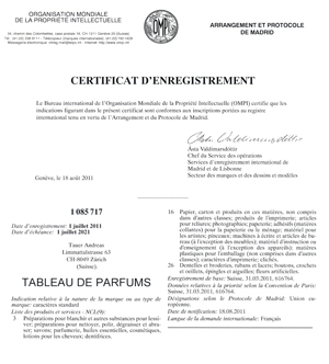 certificat d'enregistrement