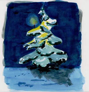day 9 of my advent calendar, or a christmas tree under snow