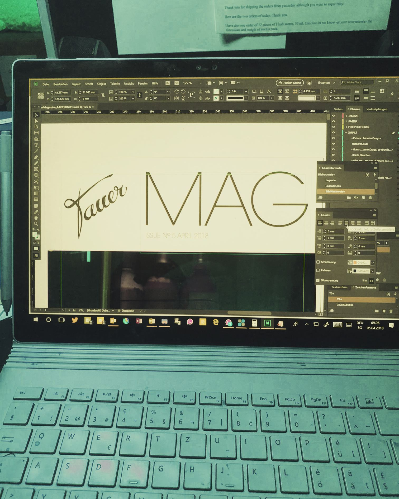 working on the next issue of the Tauer MAG